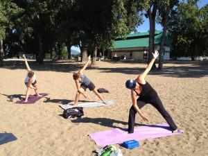 Yoga at Gyro Beach, Kelowna